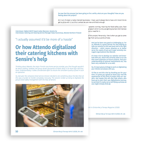 How Attendo Digitalized Their Catering Kitchens with Sensire's Help